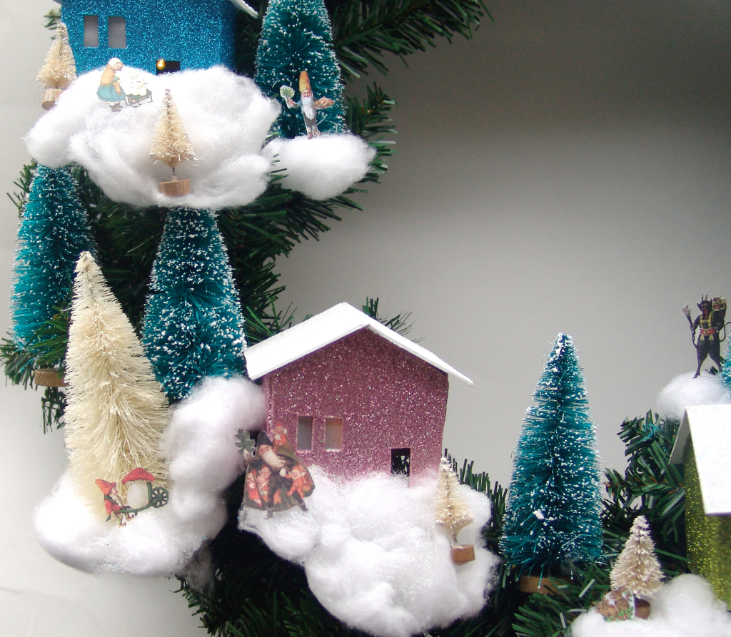 Christmas village wreath