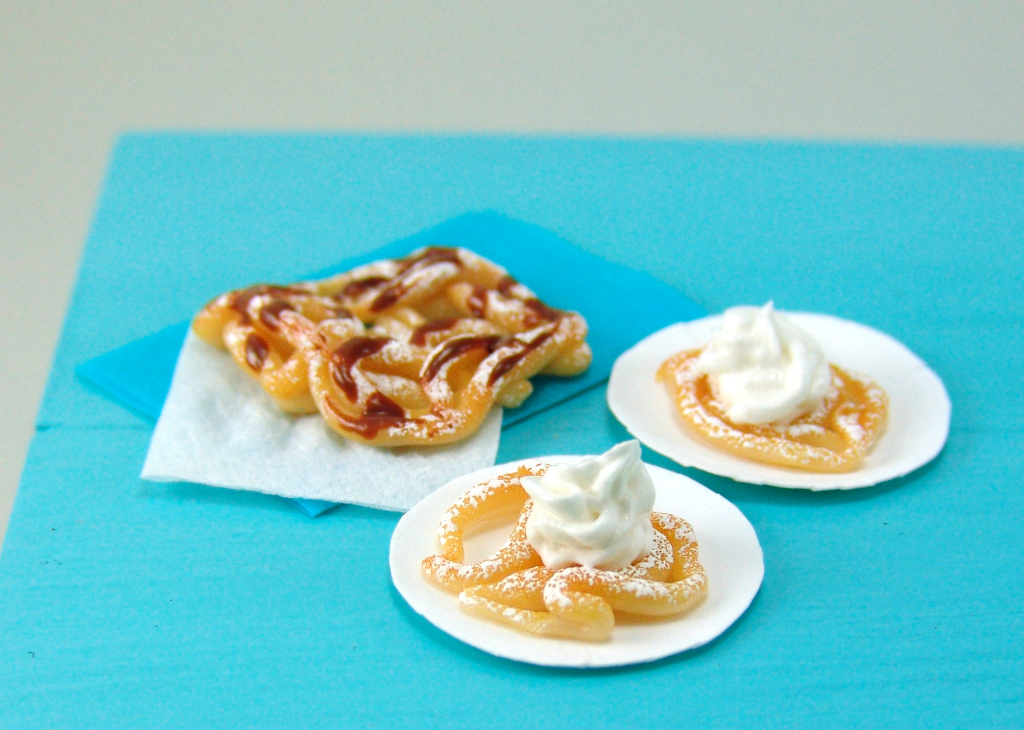 Polymer clay miniature funnel cakes by The Mouse Market