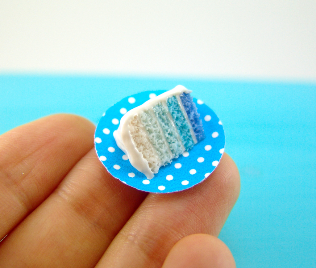 Dollhouse miniature ombre cake slice in 1/12 scale by The Mouse Market
