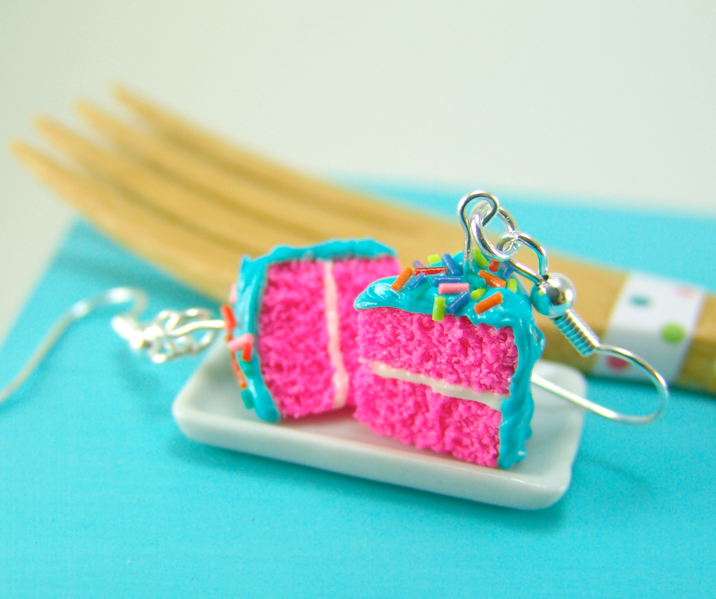 Hot pink cake earrings by The Mouse Market