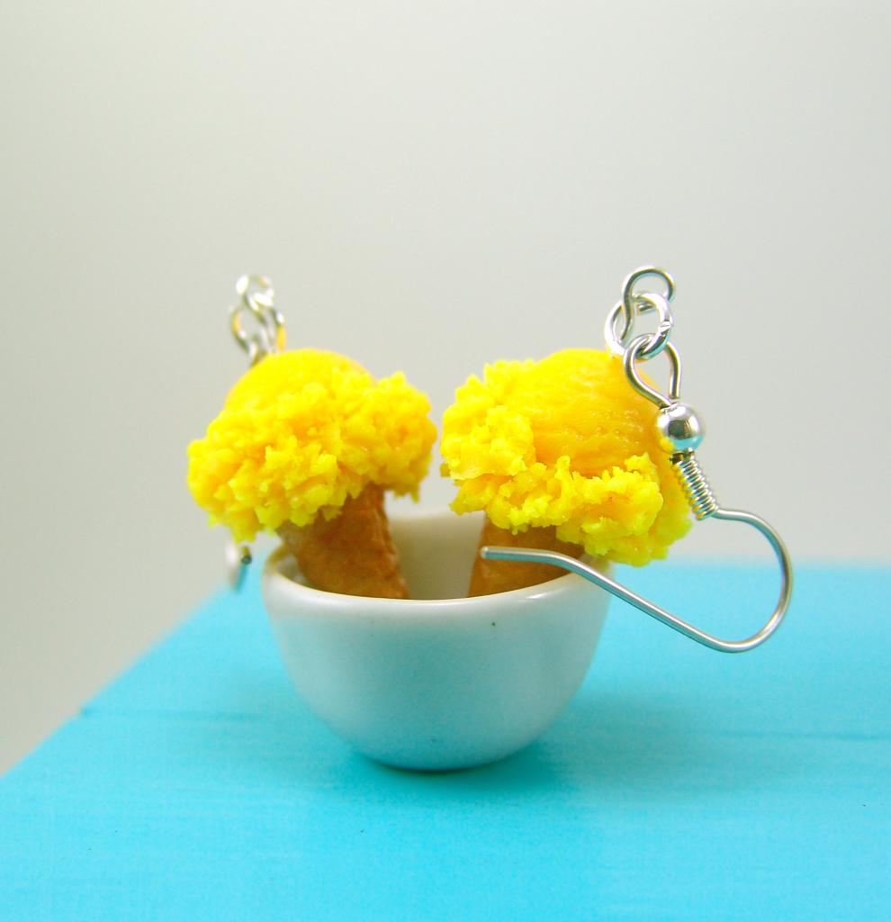 lemon yellow ice cream earrings