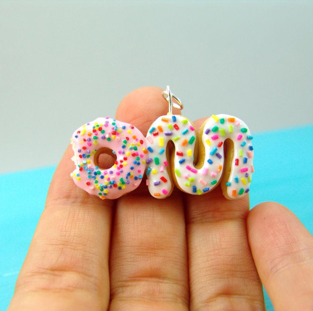 om donut miniature food charm