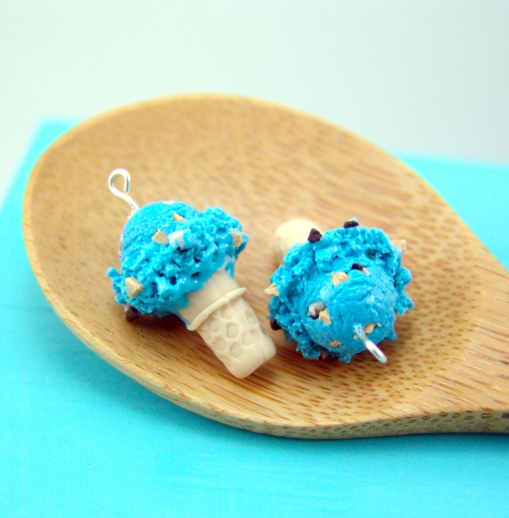 cookie monster ice cream earrings