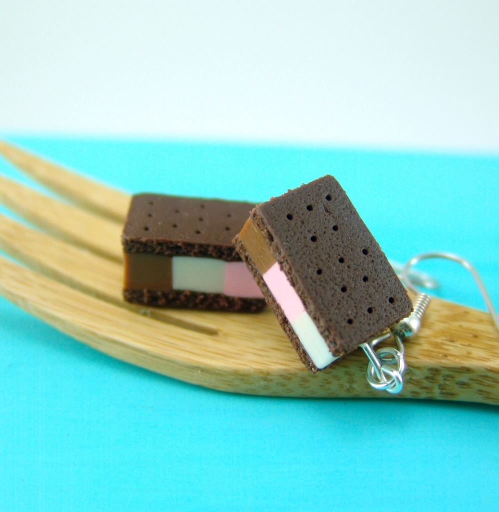 Neapolitan ice cream earrings by The Mouse Market
