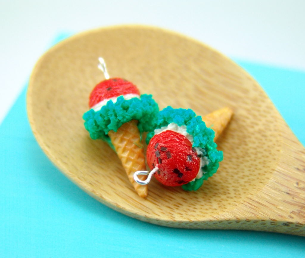 watermelon ice cream earrings by The Mouse Market